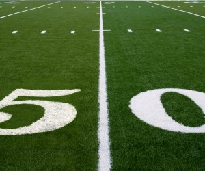 50 yard line on an american football field