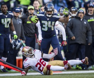 Seahawks running back Thomas Rawls took a screen pass from Russell Wilson and raced up the right sideline, then blasted 49ers cornerback Tremaine Brock on his way to a 12-yard gain and a first down.