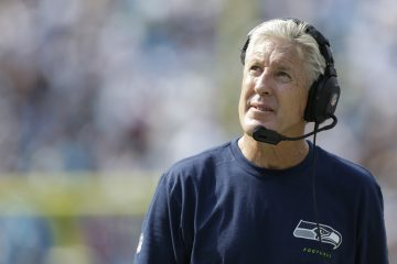 Seattle Seahawks head coach Pete Carroll on the sidelines against the Carolina Panthers during the second half of an NFL football game in Charlotte, N.C., Sunday, Sept. 8, 2013. Seattle won 12-7. (AP Photo/Bob Leverone)