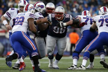 Dec 28, 2014; Foxborough, MA, USA; New England Patriots defensive tackle Sealver Siliga (96) after the snap against the Buffalo Bills in the second half at Gillette Stadium. Buffalo Bills defeated the Patriots 17-9. Mandatory Credit: David Butler II-USA TODAY Sports