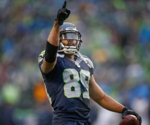 SEATTLE, WA - DECEMBER 27:  Wide receiver Doug Baldwin #89 of the Seattle Seahawks reacts after scoring a touchdown in the third quarter against the St. Louis Rams at CenturyLink Field on December 27, 2015 in Seattle, Washington. The Rams defeated the Seahawks 23-17.  (Photo by Otto Greule Jr/Getty Images)