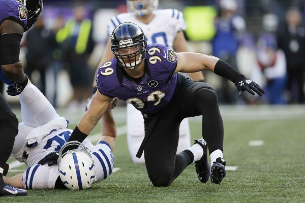 FILE - In this jan. 6, 2013, file photo, Baltimore Ravens outside linebacker Paul Kruger (99) looks up after sacking Indianapolis Colts quarterback Andrew Luck during the second half of an NFL wild card playoff football game in Baltimore. The Cleveland Browns reached agreement on Tuesday, March 12, 2013, with Kruger, who led the Ravens in sacks last season, a person familiar with the agreement told The Associated Press. (AP Photo/Patrick Semansky, File)